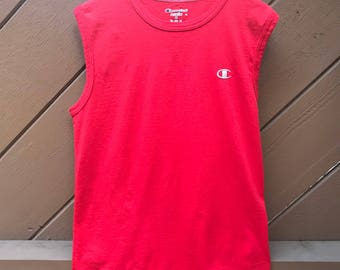 Red Champion Muscle T-Shirt Tee