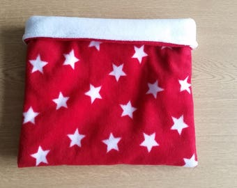 READY TO SHIP! Red Starry Fleece Snuggle Sack for Hedgehogs/Rats/Guinea Pigs/Rabbits/Sugar Gliders