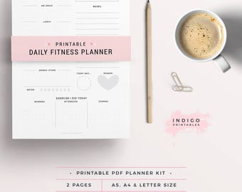Daily Fitness Planner, Fitness Printable, Fitness Journal, Health and Fitness Plan, Wellbeing Planner, Wellness Planner, Workout Planner