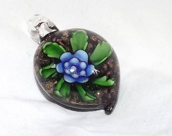 Vintage Hand Blown Glass Flower Pendant
