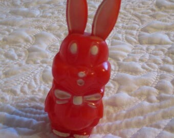 Vintage Plastic Easter Bunny Baby Rattle Circa 1950 Rare Red Color