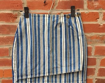 Vintage 90s Blue and White Striped Denim Jean Weap Skirt Womens