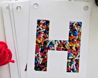 SALE: DIY Banner Kit - Full Alphabet kit to create your custom banner. Use over and over for every occasion! Sprinkles, multi colors/white