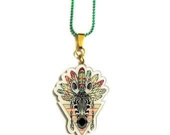 Zebra Native American, Bohemian, Boho, Backpack Brooch, Woodlands, Acrylic / Plastic, Animal Pin, Indian Zebra, Spiritual, Symbol, Love Gift