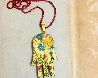 Hamsa Hand Necklace, Evil eye, Good luck, Oriental Ethnic Decor, Floral decor, blue,red, Gold, Amulet, Long necklace