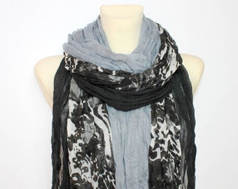 Gray Floral Scarf Fringe Fabric Scarf Floral Print Scarf Unique Boho Scarf Women Fashion Accessories Gift for Women Christmas Gift