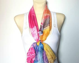 Yellow and Pink Printed Scarf Silk Rainbow Scarf Women Silk Scarves for Women Pink and Blue Silk Scarf 11 Inspirational Women Gift Mom