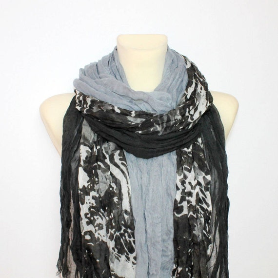 Gray Floral Scarf - Fringe Fabric Scarf - Floral Print Scarf - Unique Boho Scarf - Women Fashion Accessories - Gift Ideas for her