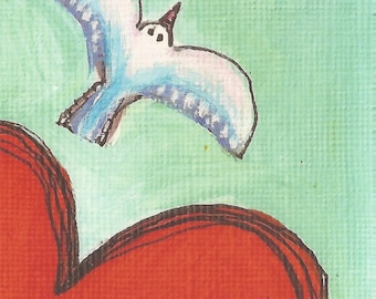 Postcard from original artwork, seagull with heart