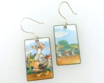 Retro 70's Mother Goose design enamel copper earrings with Artisan sterling silver ear wires