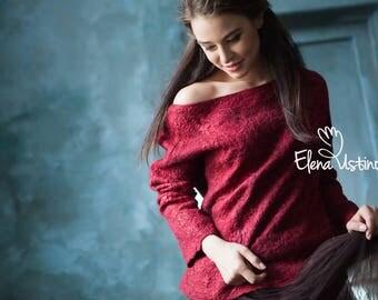Garnet Felt Sweater from merino wool and natural silk Feltro Sangria Fashion Wine Textile design Women's clothing Nuno Art textile Felted