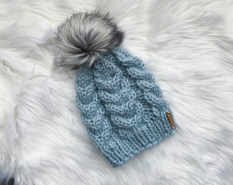 Kids Snow Bunny Sky Blue Cabled Winter Hat + White Gray Faux Fur Pom Pom