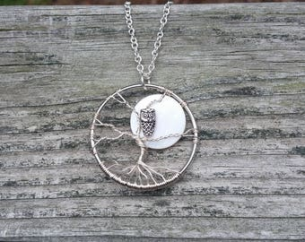 Tree of Life Necklace- pearl moon, owl