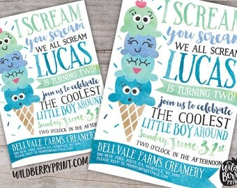 Ice Cream Social Birthday Party Invitation with Free Shipping or Personalized Printable