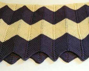 Hand Knit Chevron Baby Blanket Gender Neutral