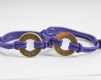 Couples Bracelet Set, His and Her Bracelet, Initial Washer Bracelet, Anniversary Gift, Boyfriend Gift, Her and Her, His and His, Love Gift