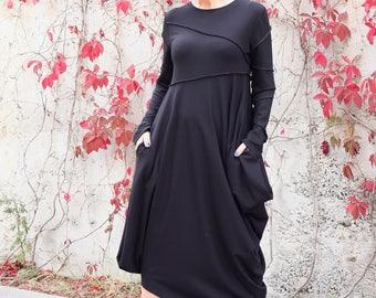 New Black Dress / Long Sleeves Dress / Side Pockets / Loose Dress / Maxi Dress / Party Dress / Women Dresses / Plus Size /  D22317