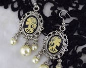 Gothic Wedding Earrings | Lady Death Ivory Earrings | Gothic Victorian, Elegant gothic earrings, Romantic Goth, Skeleton Cameo earrings