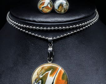 Abstract Orange Round Stainless Steel Necklace and Stud Jewellery Set
