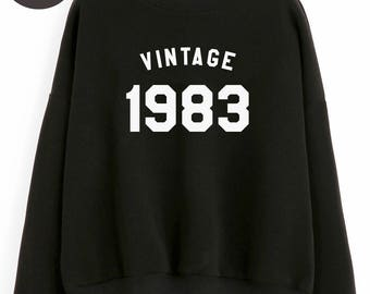 Vintage Sweatshirt 35th birthday sweatshirt 1983 shirt birthday tshirt tumblr shirt pullover sweatshirt women sweater men tshirt birthday