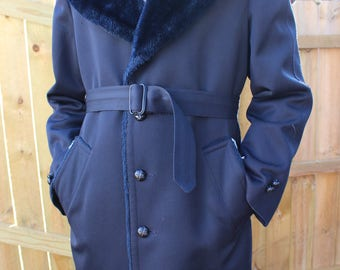 Vintage Midnight Blue Men's Coat/ Retro 70's Crownwear Trench Coat/ Overcoat/ Lined Jacket With Faux Fur