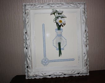"""Bouquet of flowers"" picture frame shabby chic weathered old gold"