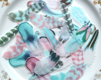 Edible Feathers Persian Azure Boho Winter Wedding Cake Decoration Wafer Rice Paper Pink Blue Aqua Rustic Birthday Cupcake Topper Cookies RTD