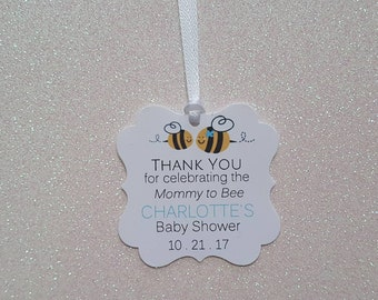 Mommy to Bee Baby Shower Favor Tags *Bumble Bee Baby Shower Favor Tag *Blue Bumble Bee Baby Shower *Mommy-to-Bee *PERSONALIZED