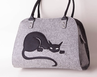 Felt cat purse Cat handbag Grey handbag Cat bag Felted bag Black cat bag Felt shoulder purse Shoulder bag Felt tote Black cat purse