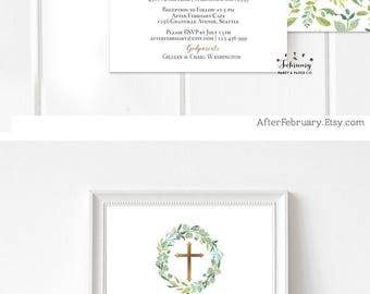 Greenery Baptism Invitation Boy Christening Invite, Green and Gold Invitation First Communion Invitation Printable No.1515BAPTISM (V2)
