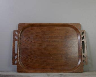 Vintage wood tray | serving tray | mid century wood tray