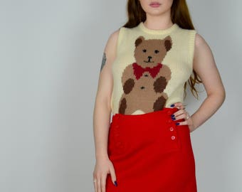 Teddy | Small Medium | 1980s Knit Sweater Vintage Pullover Sweater Vest 80s Teddy Bear Print