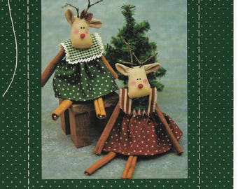 "Vintage pattern 1990 Ruthie Reindeer 7"" Cinnamon Stick Reindeer Pattern by Country Stitches"