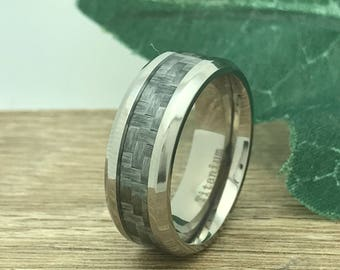 8mm Titanium Wedding Ring, Personalized Custom Engrave Carbon Fiber Wedding Band Ring, Wedding Ring, Purity Ring, Promise Ring