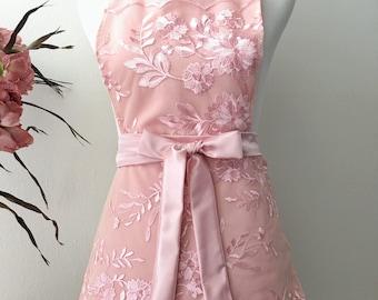 SALE - Sexy Apron, Pink Linkgerie, Bridal Lingerie, bachelorette gift, Bridal Shower, Honeymoon Lingerie, Ready to Ship
