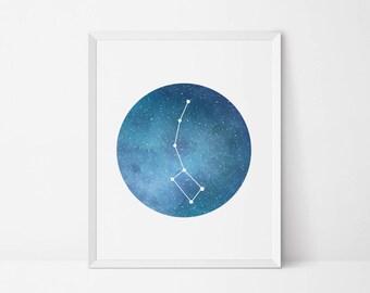 Little Dipper Ursa Minor constellation, printable art, Constellation print, Stars wall art, galaxy art, astronomy decor outer space print
