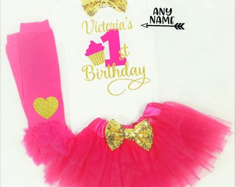 girls first birthday outfit baby girls first birthday outfit hot pink and gold first birthday outfit girls first birthday shirt cake smash