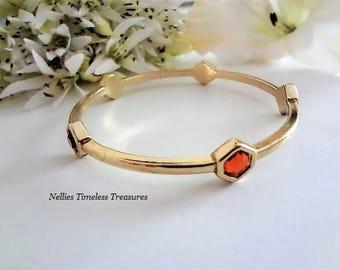 Amber Bangle Bracelet Gold Bangle Cuff Bracelet Amber Crystal Bracelet Large Size Bracelet Avon Bracelet Avon Jewelry Stacking Bracelet