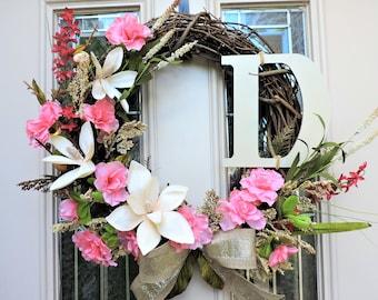 Personalized Wreath with initial, Japanese Magnolia Front Door Wreath, Pink Azalea Wreath, Monogram Wreath, Double Door Wreath,summer wreath