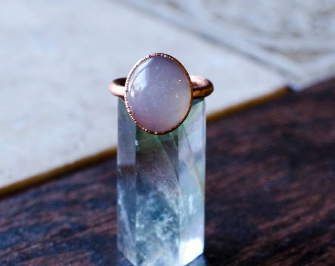 Circular Moonstone + Copper Ring