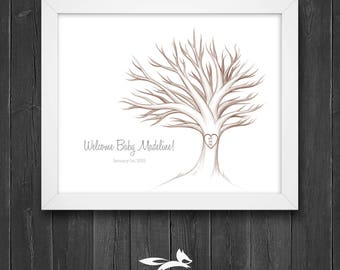 Baby Shower Guest Book Tree with Instruction Card, Baby Shower Tree, Guest Book Tree, Custom, Personalized, Printable, Download
