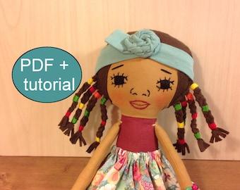 doll sewing pattern black cloth doll pattern PDF sewing tutorial doll making soft doll pattern pdf doll pattern rag doll pattern fabric doll