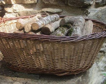 French vintage basket, rustic wood basket, willow basket, laundry basket, rustic hearth basket, French farmhouse chic, country decor,