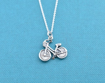 "Girl's, teen's or women's bicycle charm pendant in sterling silver on a 16"" sterling silver rolo. Bicycle gifts.  Bicycle necklace."