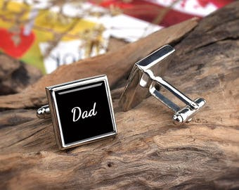 Dad Cufflinks Personalized Cufflinks, Dad Gift from Daughter, Gift from Son, Birthday Present for Man Square Cufflinks