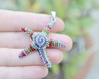 Large Sterling Silver Rainbow Crystal Starfish Pendant, Large Sterling Sea Star Pendant, Rainbow Crystal Jewelry, Rainbow Starfish Necklace