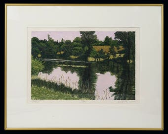 1982 Nature Pond Color Lithograph Limited Edition 103/140 Vintage Art Signed