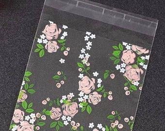 Flower cookie, treat, favor bag. Floral thank you treat bag, wedding favor, party favor, shower favor bag.