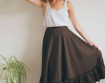 Vintage A-line Skirt, 70s Skirt, Midi Skirt, High Waisted Skirt, Women's Skirt, Polyester