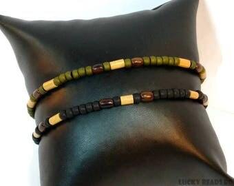Mens anklet beaded anklet ankle bracelet mens ankle bracelet gift for him ankle jewelry beach anklets mens gift stretch bracelet BA-12-01